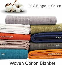 Luxurious 100% Ring spun Cotton Bed Blanket Woven Waffle Small Twin/Queen/King