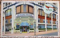 San Francisco, CA 1940s Linen Postcard: Golden Pheasant Restaurant - California