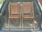 Vintage Slatted Wood Yacht Club Folding Chair Mid-Century