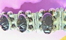 Carved Onyx Aztec 55Gms 7 Inches Vintage Mexico Sterling Silver Bracelet Black