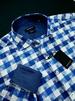 Bugatchi Classic Fit Geometric Check Sport Shirt Navy Blue