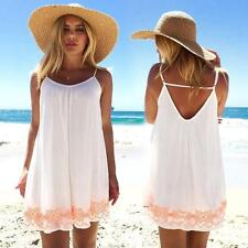 Women Backless Short BOHO Evening Party Beach Ladies Mini Dress Sundress L US