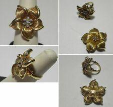 C1161 Vintage 14K Solid Yellow Gold Hollow Flower Diamond Pendant/Ring Set