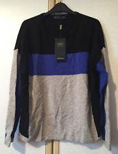 M&S Ladies Blue, Grey & Black Pure Cashmere Jumper Size 16 BNWT