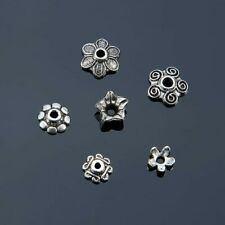 40 Bead Caps Antique Silver Tone Spacers Findings Floral Assorted Lot 7mm-10mm