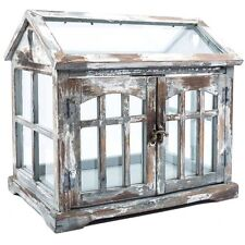Gray, Brown & White Wood Terrarium with 2-Doors Home Decor Shabby Chic Table Top