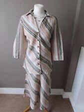 EAST Ladies Beige Striped Pure Linen Outfit Suit Skirt (Size 12) & Blouse Top 14