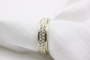 9ct Yellow and White Gold Patterned Wedding Band Size M 3.4g Ring - 0727022