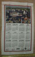 Calendar 2001 Linen Kitchen Tea Towel Wall Hanging Mystic Seaport Nautical