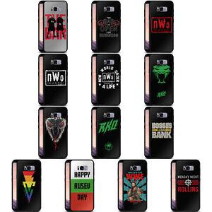 OFFICIAL WWE SUPERSTARS 7 BLACK HYBRID GLASS BACK CASE FOR SAMSUNG PHONES