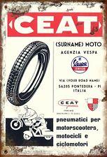 Vintage Retro Personalised Ceat Tyre VESPA Medium Sized Metal Tin Sign Italian