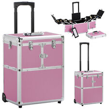 19'' Aluminum Trolley Makeup Case Rolling Beauty Cosmetic Lock Box w/ Hand
