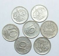 1944 - 1958, 10 Ore Sweden Silver a Lot of 7 Value Coins