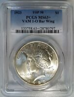 1923 Silver Peace Dollar PCGS MS 63+ PLUS VAM 1O Bar Wing Variety Mint Error