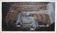 ED LEMKE-Painted/Carved Wood Panel- Coal Miners Mine Shaft-Elijah Pierce style
