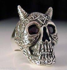 Sterling Silver .925   Red Eyed Celtic Skull Ring     RG07/CZ/S