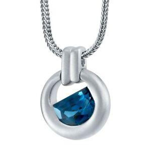 "Men's London Blue Topaz Amulet Pendant in Sterling Silver, 22"""