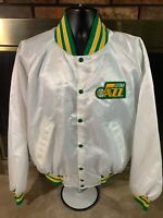Vintage Utah Jazz NBA Basketball Satin Snap Jacket Mens Size Large White EUC