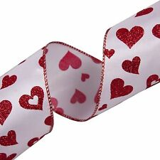 Red Sparkle Heart on White Satin 2.5in Wide Ribbon Wire-Edged - 3 Metres