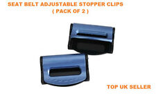 BLUE MERCEDES BENZ SEAT ADJUSTABLE SAFETY BELT STOPPER CLIP CAR TRAVEL 2PCS