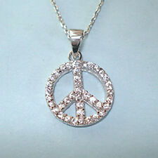 "CZ Peace Sign 3/4"" Designer Inspired Sterling Silver Pendant Necklace USA Seller"