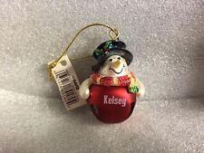 Ganz Jingle Bell Snowman Ornament Personalized KELSEY Great Stocking Stuffer