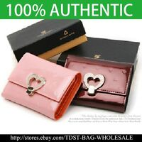[OMNIA]Crystal Ladies Wallet Genuine Leather Trifold Purse  ID Card Coins Heart
