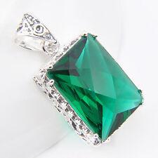 Romantic Stylish Jewelry Vintage Green Topaz Gem Silver Woman Necklace Pendant