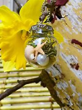 Elegant Miniature Terrarium Pendant Necklace Designed by NKDECOR with Pearl