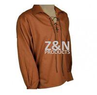 Scottish Brown Jacobite Ghillie Kilt Shirt Leather Cord Sizes S - - 5XL