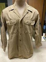 Vintage US Army Tan Uniform Shirt - Size 15 x 32