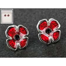 Mothers Day Gift Boxed Jewellery Equilibrium Silver Plated Stud Poppy Earrings