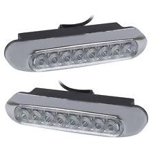 Universal White 8 LED Day Driving Lights for Car (DC 12V)