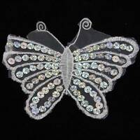 1 WHITE BUTTERFLY APPLIQUE / SEQUINS 135x110mm SEW ON MOTIF EMBELLISHMENT HL1146