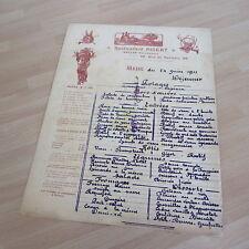 MENU ORIGINAL DU 24 JUIN 1911 RESTAURANT PIGEAT PARIS