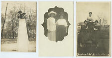 Young Women on a Slide in the Park + others pre 1940 - Real Photo Rppc