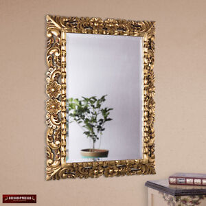 Hand Carved Peruvian Gilded Mohena Wood Wall Mirror with Gold Leaf, 'Gold Roses'
