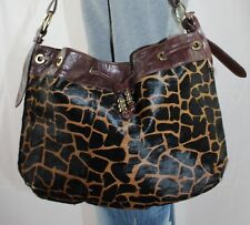 AQUA MADONNA Large Giraffe Leather Shoulder Hobo Tote Satchel Slouch Purse Bag