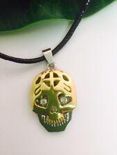 Silver & Gold Mask Skull Rhinestone Diamond Pendant Necklace - Unisex