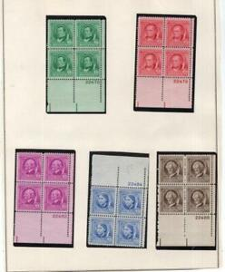 USA 1940 Famous Americans Plate Block Set - OG MLH - SC# 859-893 Cats $245.70