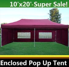 10'x20' Enclosed Pop Up Canopy Party Folding Tent Gazebo - Maroon - E Model