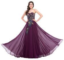 Womens Sleeveless Strapless PEACOCK Chiffon Prom Maxi Bridesmaid Gown Dresses