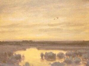 Birds Grey Day Realism Landscape OIL PAINTING ART IMPRESSIONIST Original Harmony