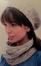 FCg10 - Knitting Pattern - Lady's ARAN, Hat, Cowl Scarf & Wrist Warmer Gloves