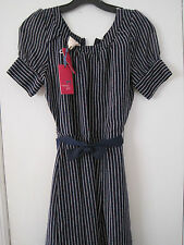 New Tommy Girl Belted Dot Dress- Juniors L - Navy- $69.00