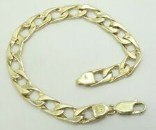 """14K Yellow Gold Smooth & Gold Nugget Style Textured Curb Link Bracelet 7"""" D6015"""