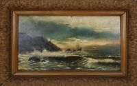 MARINE. CLIFF. OIL ON TABLE. UNSIGNED XIX CENTURY.