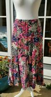Size 14 Multicolour Print Linen Blend Midi Skirt, Isle Collection