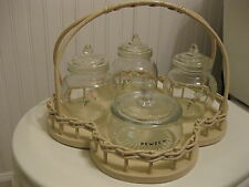 Vintage Baby Nursery Changing Table Set Hand Painted Glass Jars & Wicker Tray