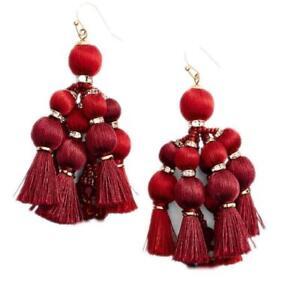 Kate Spade New York Women's Pretty Poms Tassel Statement Earrings - Sumac Red